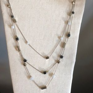 Black white and gold necklace